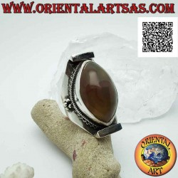 Silver ring with two-tone...