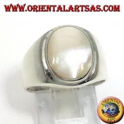 Серебряное кольцо с перламутр Овал
