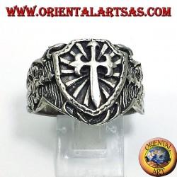 Silver ring, shield medieval sword cross