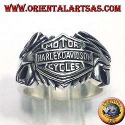 Bague en argent Harley Davidson entre deux aigles