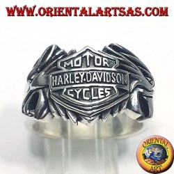 silver ring Harley Davidson between two eagles