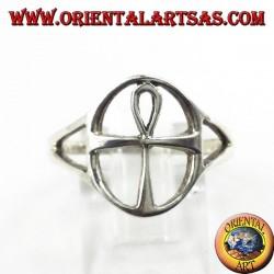 Anello in argento, croce Egizia Ankh