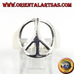 Anello in argento traforato, simbolo di pace