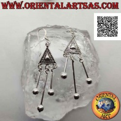 Silver earrings with ethnic...