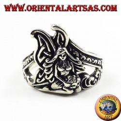Silver ring kneeling fairy