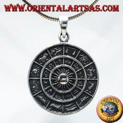 Pendentif roue horoscope zodiaque, argent