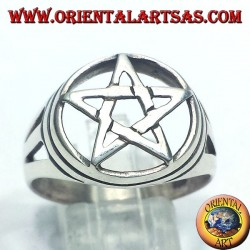 Silver ring with pentagram