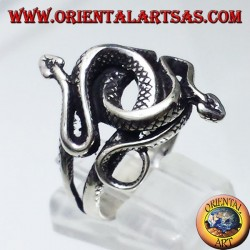 two cobras twisted ring in silver