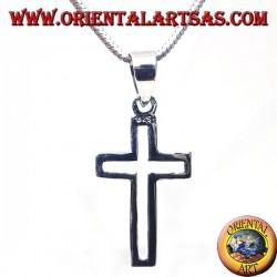 Silber Anhänger, linear geschnitzt Kreuz