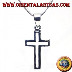 silver pendant, linear carved cross