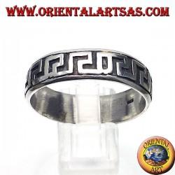 anello in argento a fedina, greca intagliata