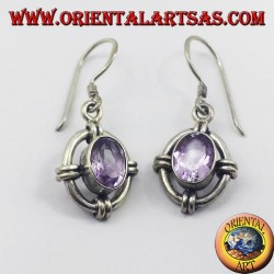 Silver earrings with oval faceted amethyst