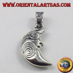 silver pendant, crescent with spiral