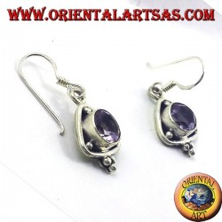 silver earrings, triangle with round faceted Amethyst