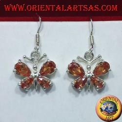 Ohrringe aus Silber mit Zirkonia Schmetterling gelb