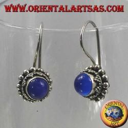 Boucles d'oreilles argent avec rond bleu agate