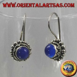 Silver earrings with blue agate round