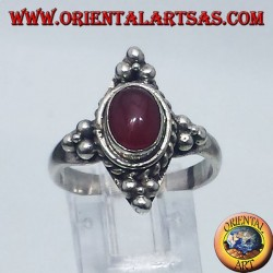 silver ring with carnelian cabochon oval Bali