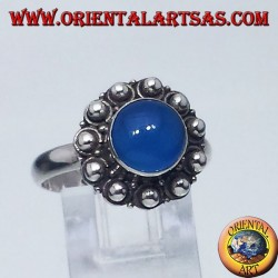 silver ring with agate blue round Bali