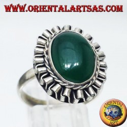 Silver ring with green oval agate cabochon