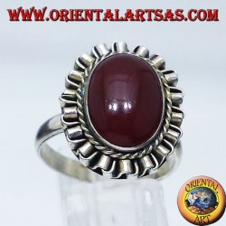 Silberring mit Karneol oval Cabochon