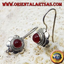 silver earrings, floret with carnelian round