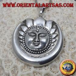 Sol luna colgante de plata más grande de Nepal