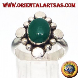 Silver ring with oval green agate cabochon