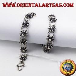 Bracciale in argento fiorellini