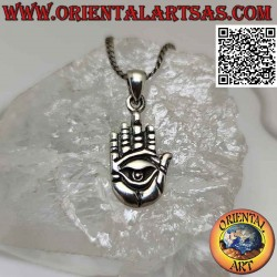 Silver pendant, hand with...