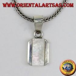 ciondolo in argento con madreperla rettangolare