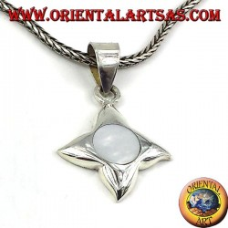 silver pendant with mother of pearl with four points