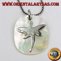 silver pendant Dragonfly on mother of pearl plate