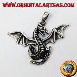 Silver pendant Celtic winged dragon