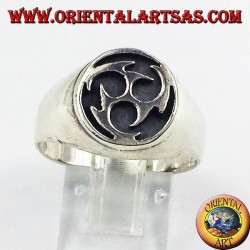Silver ring, Tomoe ancient Japanese symbol