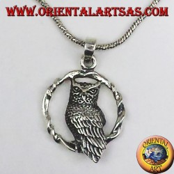 silver pendant, owl in the circle