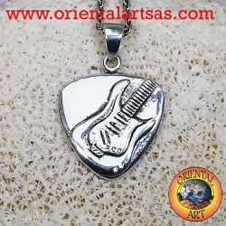 Plectrum pendant in silver with electric guitar