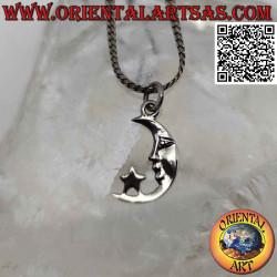Silver pendant, crescent...