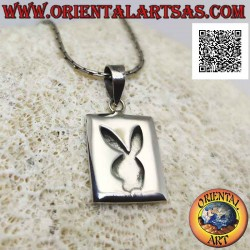 Silver pendant, rectangular...