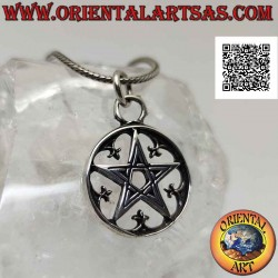 Silver pendant, pentacle in...