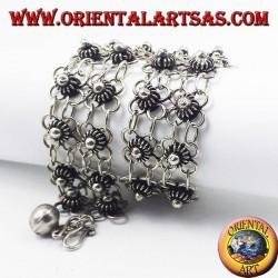 Bracelet en argent avec fichier deux fleurs