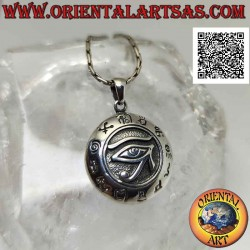 Silver pendant, round medal...