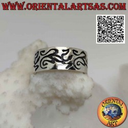 Flat band silver ring with...