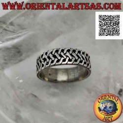 Silver ring with a worked...