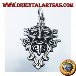 silver pendant, celtic green man