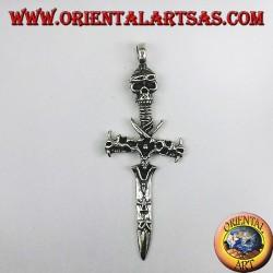 colgante de plata, espada con el cráneo