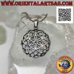 Silver pendant, mandala of...