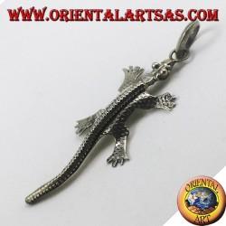 silver pendant, gecko