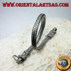 bracciale in argento, treccia sezione ovale