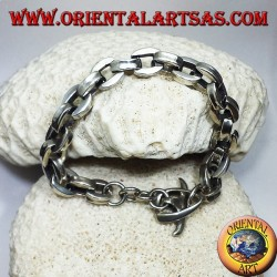 silver bracelet, thick square chain